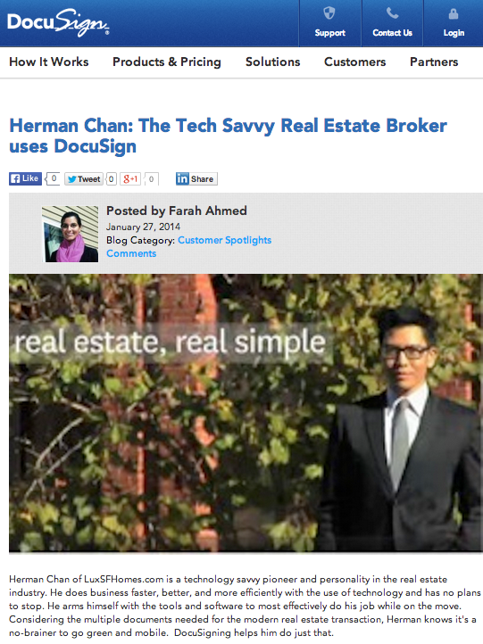 Herman Chan Real Estate broker agent docusign google drive san francisco tech savvy